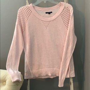 American Eagle pink eyelet sweater